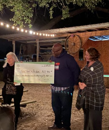 Find, Feed & Restore accepting their 2020 WGA Grant. Pictured left to right: Becky Elswick, WGA Grant Chair, Brian Broadway Founder & Shannon Herrera, ED.